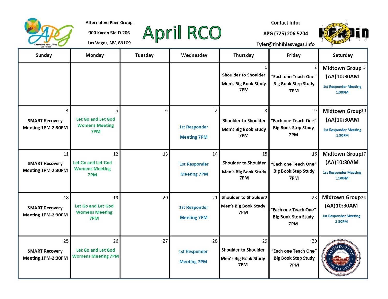 APG RCO Schedule April 2021