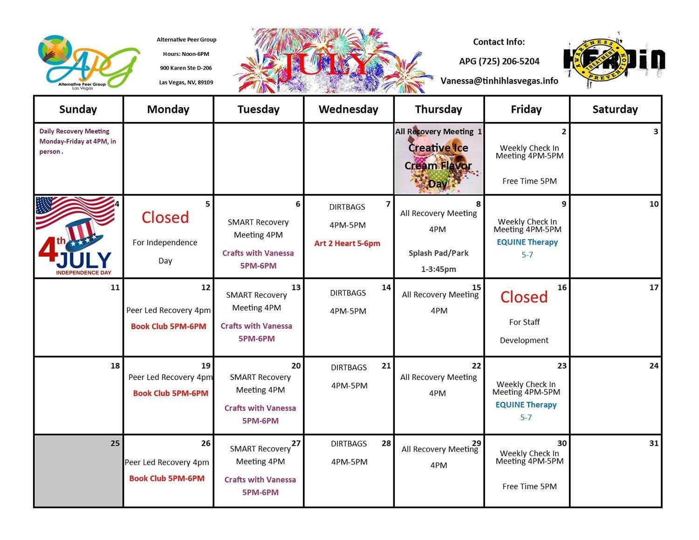 APG Schedule July 2021
