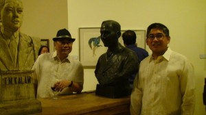 National Artist Virgilio Almario (left) and UP Diliman Chancellor Sergio Cao pose with busts of heroes inside the newly opened Bulwagan ng Dangal. Photo by Jenin Velasquez