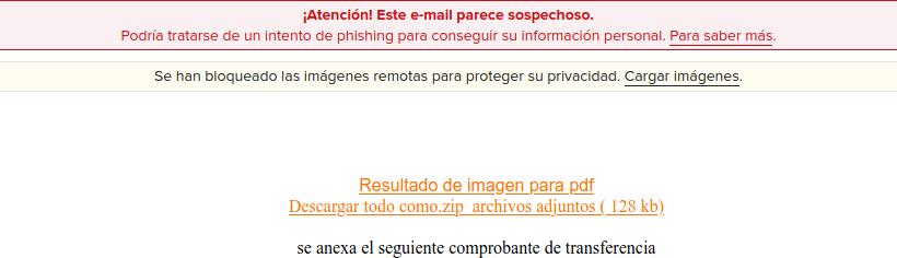 Mensaje recibido en un ataque de phishing