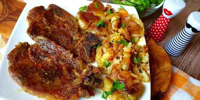 Šťavnatá pečená krkovička na pive a horčici a chrumkavé americké pučené zemiaky