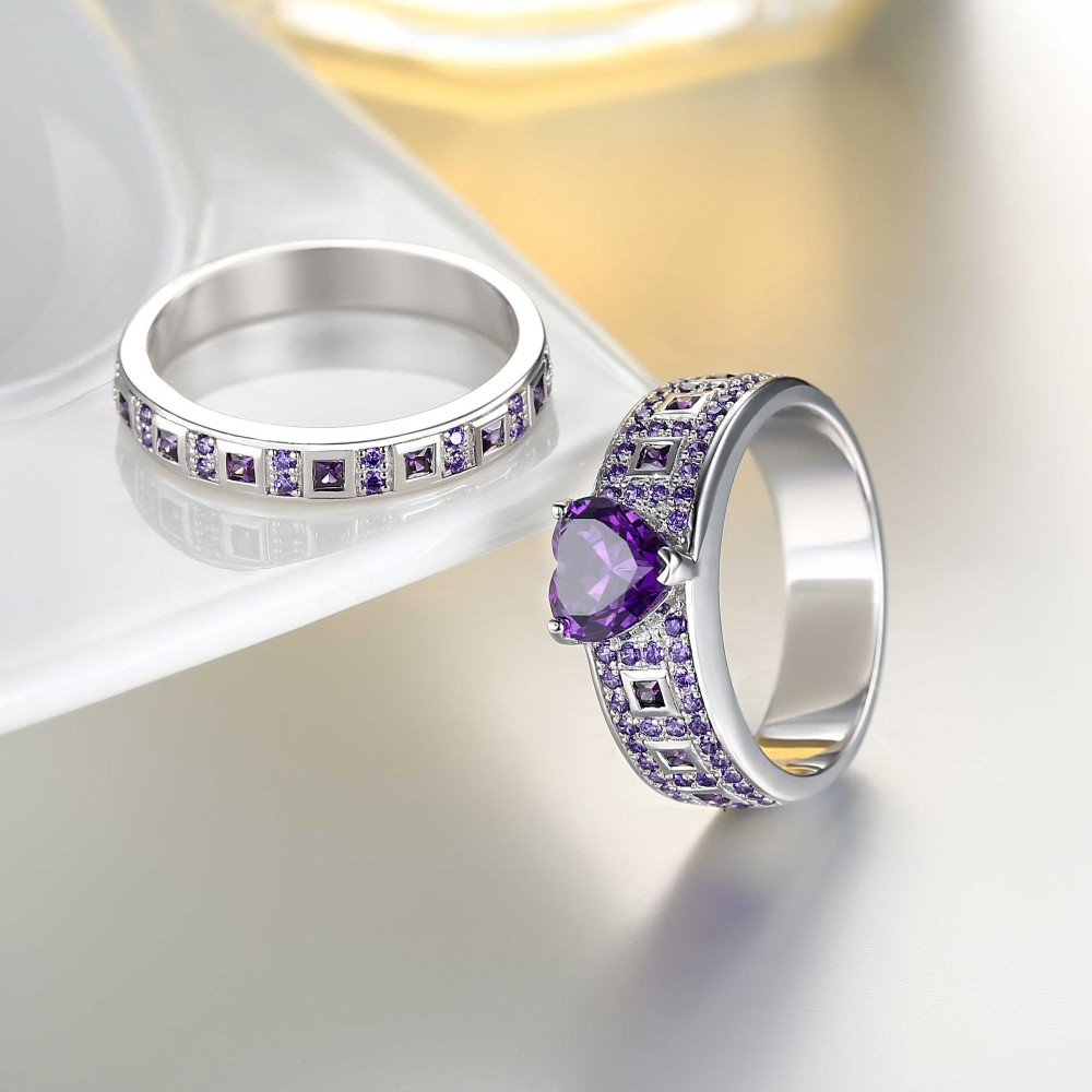 Heart Cut Amethyst Sterling Silver Womens Engagement Ring