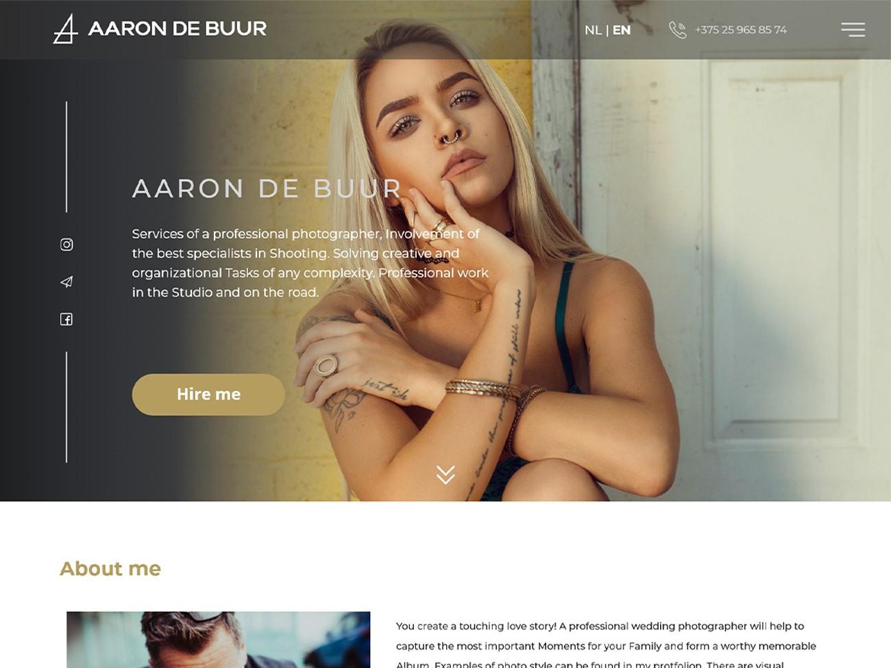 Fotografie website frontpage