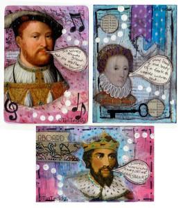 Royalty themed mixed media Artist Trading Cards © Deborah Richardson of Tin Teddy