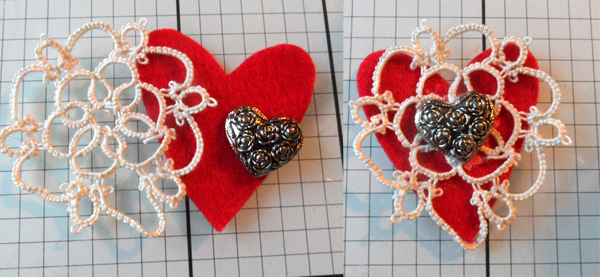 Tatted flower, felt heart and pretty button