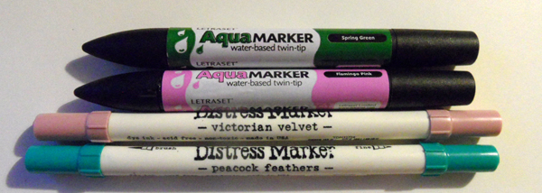 Letraset Aqua Markers and Tim Holtz Distress Markers