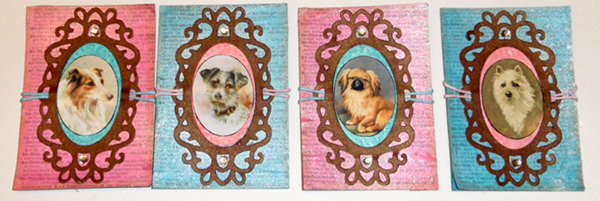 Tin Teddy dog artist trading cards