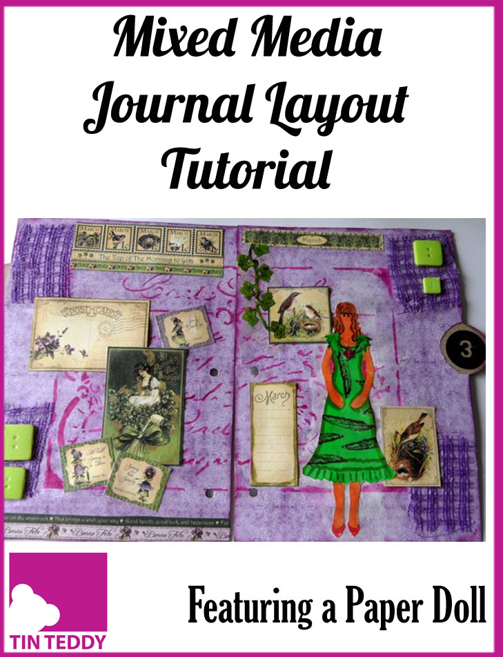 A mixed media journal page spread featuring a paper doll and Graphics 45 calendar elements.