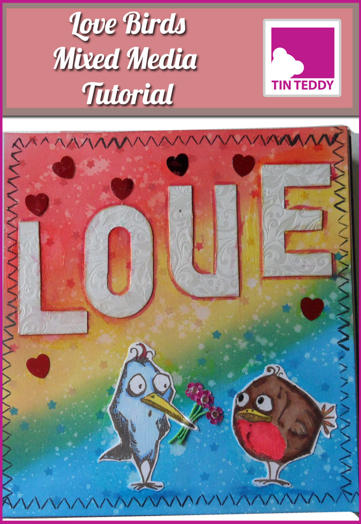 Illustrated tutorial to make a mixed media art journal page entitled