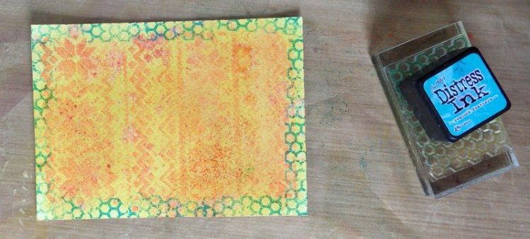 Adding Honeycomb stamping around edge of watercolour card