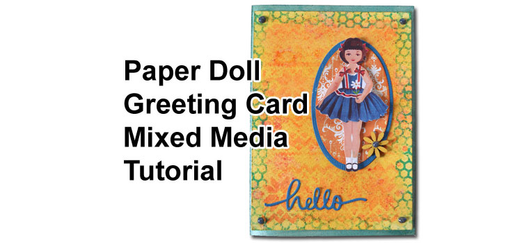 Paper Doll Card Tutorial featuring Brusho Powder Background