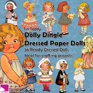 Tin Teddy Dolly Dingle 56 Paper Dolls