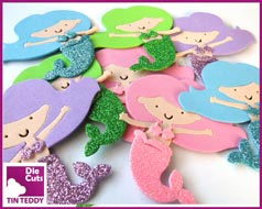 Tin Teddy Glitter Mermaid Toppers