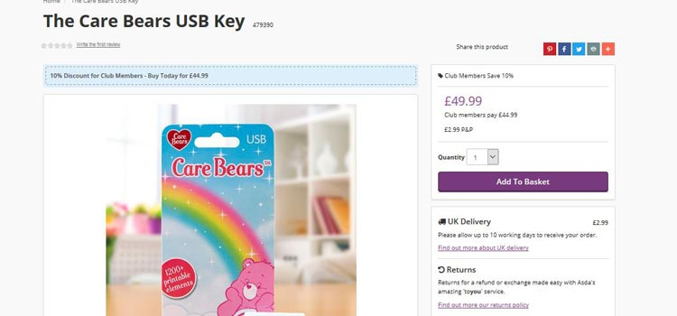 Care Bears USB Key for sale on Create and Craft's website