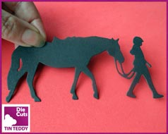 Tin Teddy Die Cuts Pony Girl Silhouette