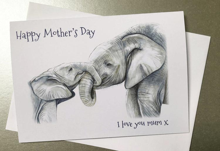 Elephant Mother's Day Card by JulesKenworthyArt