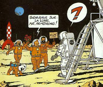 Disegno di Herge per Armstrong inviatogli nel 1969 - (c) Studios Herge