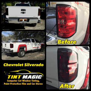 Chevrolet Silverado Smoked Tail Lights at Tint Magic Window Tinting Coral Springs