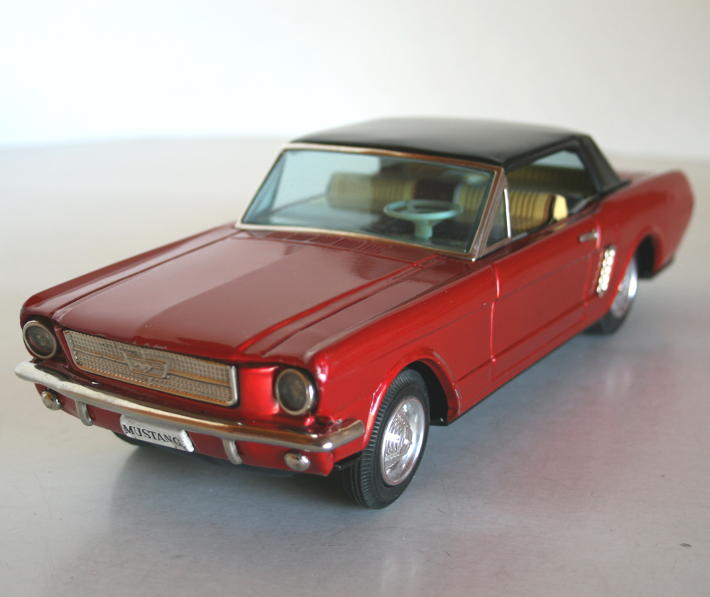 Bandai 60s Ford Mustang Battery Operated 11 Inches 28 Cm Original Tin Toy Car Tin Toy Car