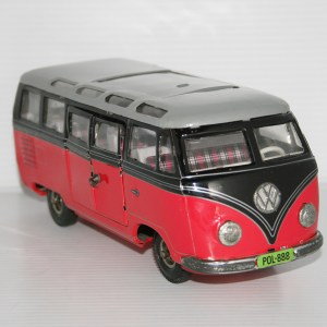Tipp & Co. Lemy Poliumex México 50's 60's Pink Volkswagen Transporter Micro-Bus friction 9.5 Inches (24cm) original tin toy car
