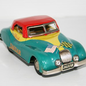 Bandai Japan 50's Jaguar XK 140 Official Pace Car 500 Mile Race 1956 Friction 6 inches (15 cm) original tin toy car