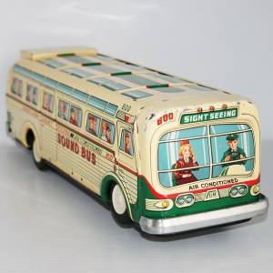 Masudaya MT 60's Sound Bus Nº 800 Overland Sightseeing Battery Operated 14.25 inches (36 cm) original tin toy bus