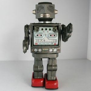 Horikawa Japan 60's Rotate Robot very rare Battery Operated 11 inches (28 cm) original tin plastic toy space robot