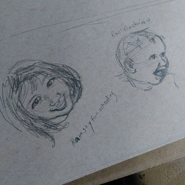 Today's #instagramkids #sketch inspired by @ramseyfunschooling  and @rachelvictoriaw . Just quick #sketches after a super busy day.##drawing on #strathmore #tonedpaper #art #illustration #children #sketchbook #baby