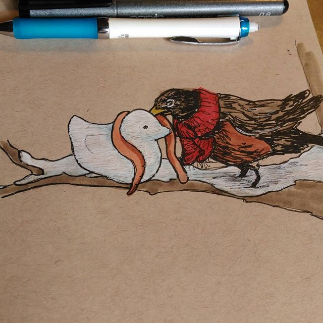 """Do you want to build a snowbird?"" A #bird building a friend for my bird and winter loving girlie, @jellynerd.#prismacolor And #copic #ink , white #gellyroll , #blickartmaterials #marker on #strathmore #tonedpaper .#sketch #sketchbook #robin #winter #snow #Art #drawing #january"