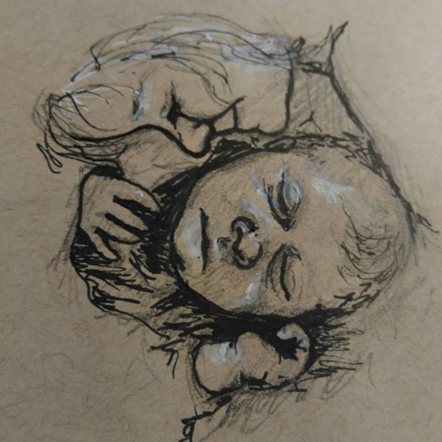 Quick #sketch of @musketeermama 's little ones. #penandpaper #prismacolor#copic #ink on #strathmore #tonedpaper with #gellyroll  #sketchbook #art #ink #instart #baby #children #snuggle #cuddles #siblings