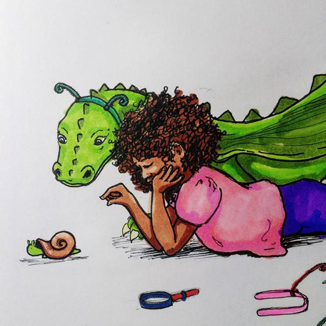 Almost done. #wip #danadreamedadragon #watchingsnails #illustration for my very own #childrensbook .  #copic #blickartmaterials #marker #prismacolor and copic #ink.  #drawing #art #artist #illustratorsoninstagram #illustrators #kidlitart #childrensbookillustration #snail #dragon #dragonbook