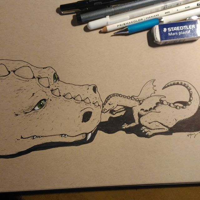 Boop!#prismacolor #copic  #ink white #Gellyroll on #strathmore #tonedpaper #artist #art #illustration #illustrator #drawing #penandpaper #penandink #Dragon #babydragon #fantasyart #mama #nuzzle