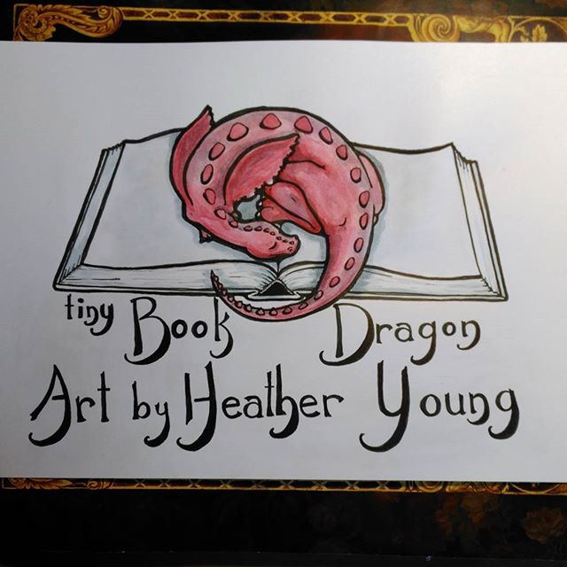 New logo nearly done. Tomorrow I scan, edit word placement in GIMP, and upload to my various sites. Yah! #Watercolor #logo #art #ink #drawing #handlettering #illustration #instart #illustratorsoninstagram #bookillustrator #fineartist #branding #book #dragon #bookdragon #fantasyart