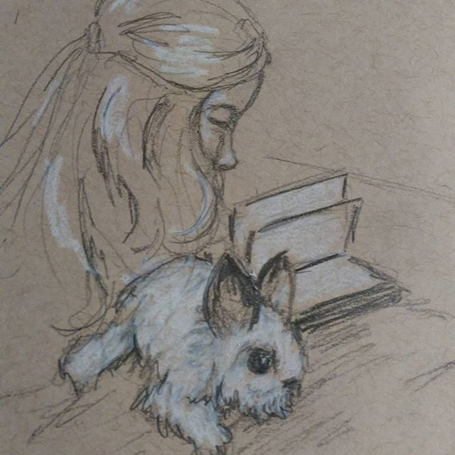 Today's #instagramkids #sketch  inspired by @colleen.lunt #drawing #sketchbook #pencilsketch on #strathmore #tonedpaper with white #prismacolor  #art #bunny #rabbit #child #book #reading