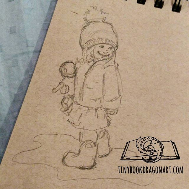Quick #instagramkids #sketch inspired by @kerrypedder . Managed to grab a #pencil but no eraser and my art bag is in the other room so eraser-free #drawing. 😶 On #strathmore #tonedpaper #sketchbook #thesketchcollective #art #artist #kidlitartist #illustration #child #doll #puddle #rainboots #toddler