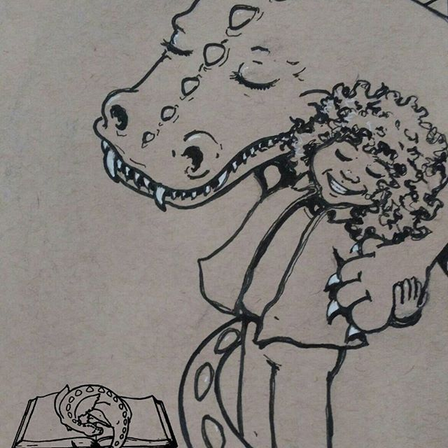 A big toothy grin from these besties..Day 1 of #febdrawingchallenge2017 for #thesketchcollective : #teeth .#art #artist #Dragon #drawing #sketch #sketchart #ink #Gellyroll #strathmore #tonedpaper #hug #naturalhair #naturalcurls #illustration #illustrator #bestfriend