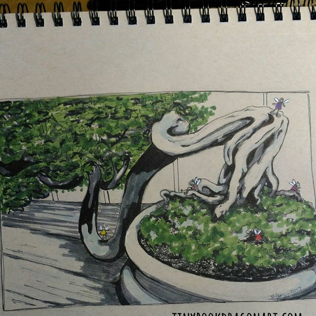 Day 7 of #thesketchcollective #febdrawingchallenge2017 : #whimsicaltree .Inspired by a #bonsai at #phippsconservatory . .Part of my little fairies series. #prismacolor#ink #blickartmaterials #marker #gellyrollOn #strathmore #tonedpaper .#fairy #faerieworlds #fairytaleworld #whimsical #tiny #miniature #art #drawingchallange #drawing #sketchbook #sketch #imagine #illustration #instart #artist #kidlitartist