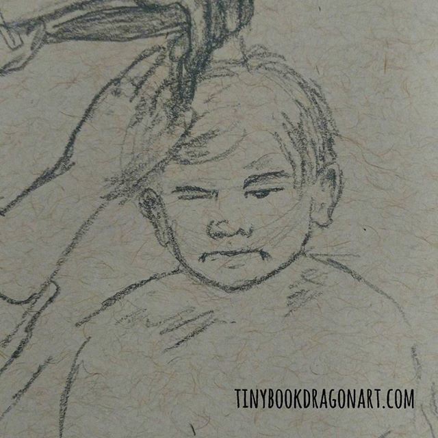 Inspired by Finnegan Danger and his brilliant scowl. @espressoandtequila .#sketchbook #sketches #art #drawingpractice #drawingchallange #warmup #pencilsketch #child #haircut #scowl #grump #kidlitart #illustration