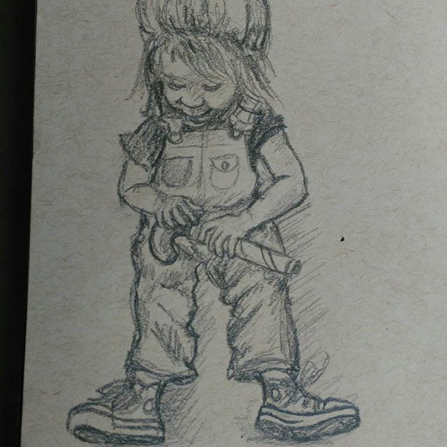 This little cutie in her overalls and Chucks is one of my nieces. So fun. #art #children #child #kidlitart #illustration #chucks #pencilsketch #pencil