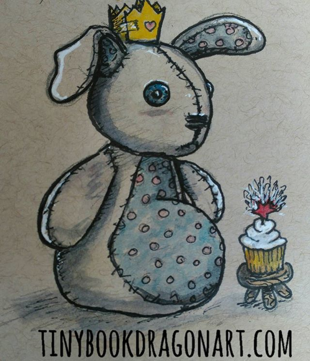 Super clutzy today (I blame daylight savings 😛) so redrew an old character- my poor sad bunny. Much loved and has been on many adventures but no matter how hard he tries he always looks sad. I have no idea what is going on with his cupcake decoration-my hand slipped so I tried to turn my mistake into... Something? Did I mention clutzy?#Watercolor #prismacolor #ink #art #illustration #kidlitart #instart #illustrator #childrensillustration #stuffedanimals #bunny #cupcake