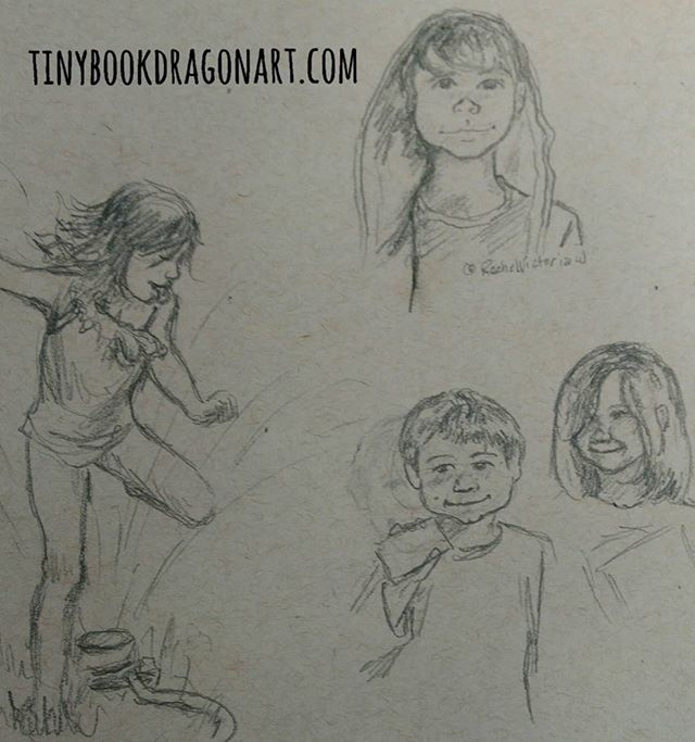 Some quick sketches today. Spent yesterday working on private commission. Working on again today. Inspired by @espressoandtequila and @rachelvictoriaw ..#drawing #sketchbook #sketch #kids #art #illustration #illustrationart #homeschool #unschooling