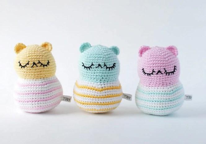 Tiny Curl Crochet Stripy Spring bear