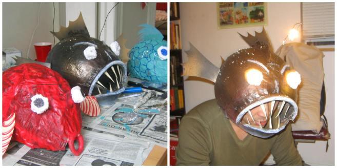 Paper mache fish masks