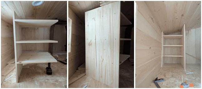 Tiny House Loft Closet Shelf Contruction