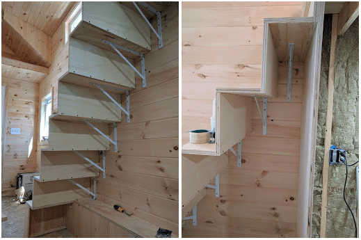 tiny house stairs. brackets attaching stairs to the tiny house wall Tiny House Stairs with Storage Shelves and Pantry  TinyHome io