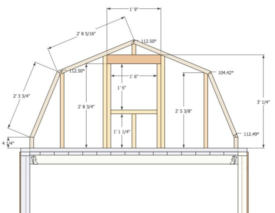 Micro gambrel plans for Small gambrel house plans