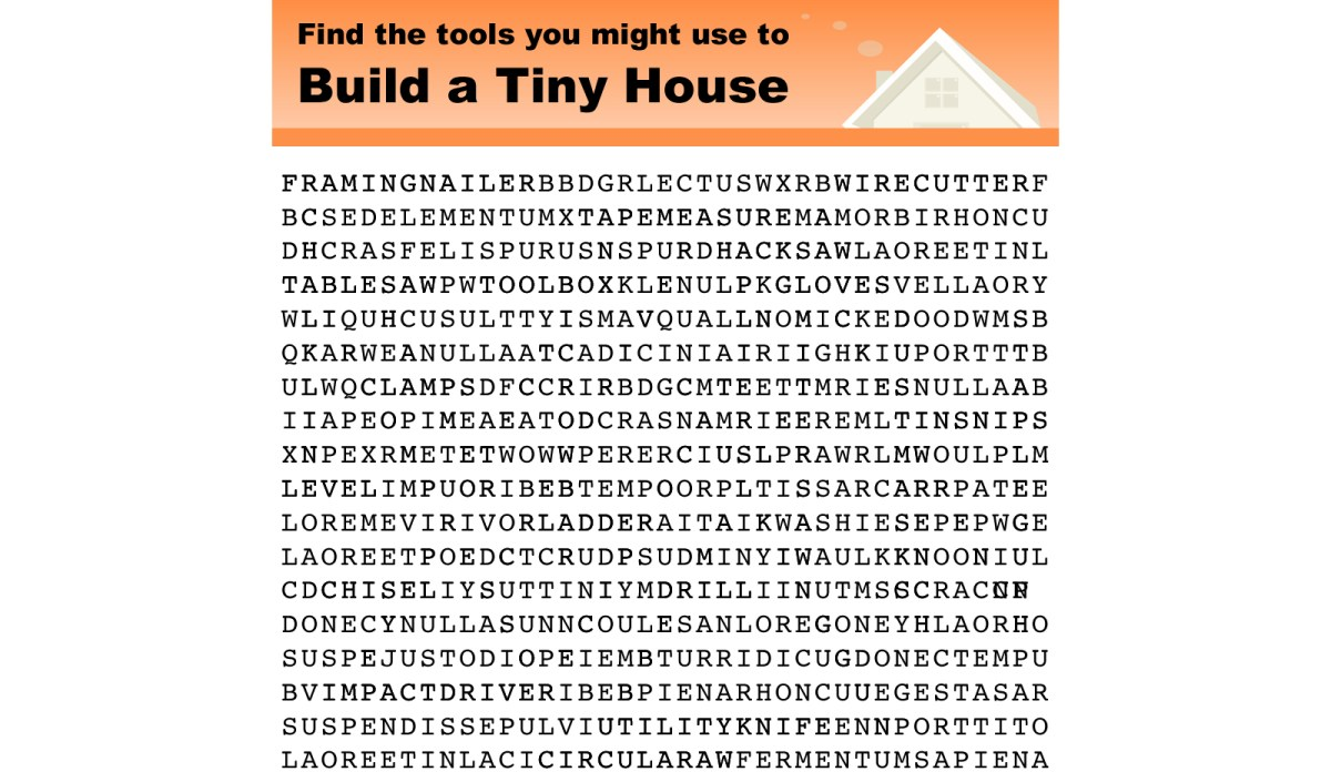 Tools you might use to build a tiny house Tools to build a house