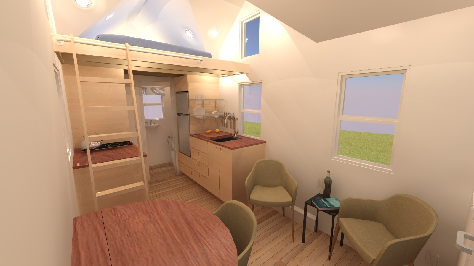 Albion 16 tiny house plans for Main living room designs