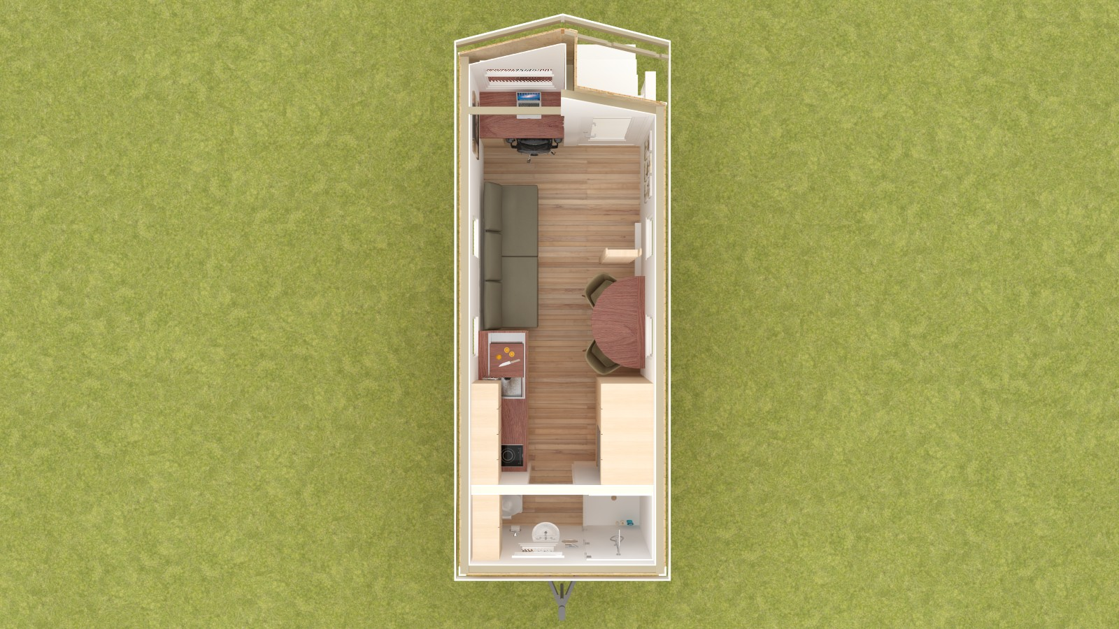 Caspar 20 Tiny House Floor Plan Lower Level