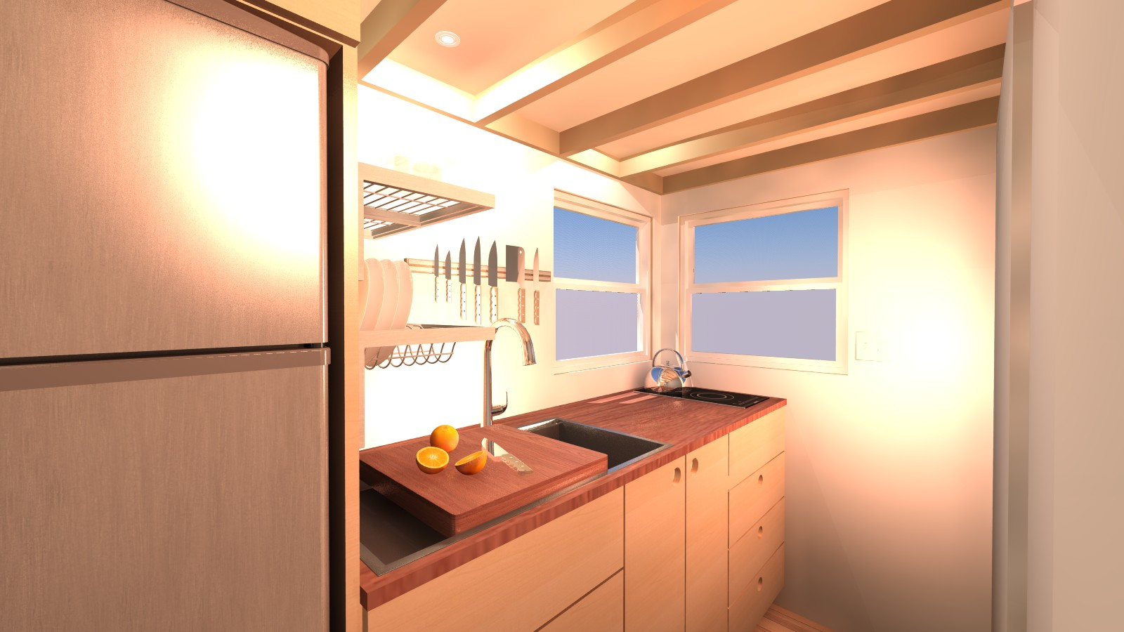 Cleone 16 tiny house plans Leon house kitchen design
